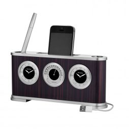 Woodside Desk Clock Weather Station and cell phone charging station