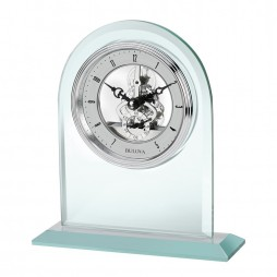 Bulova Clarity Mineral Glass Desk Clock With Skeleton Movement B5009