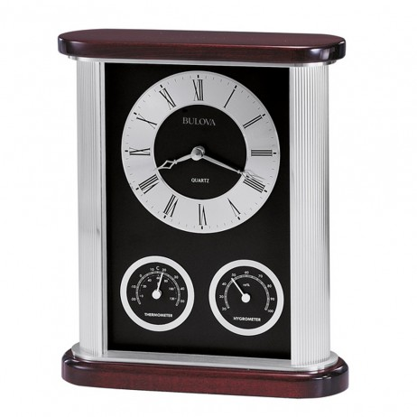 Bulova Belvedere Desk Clock With Thermometer And Hygrometer Model B7590
