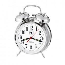 Bulova Double Bell Alarm Clock - Silver B8127