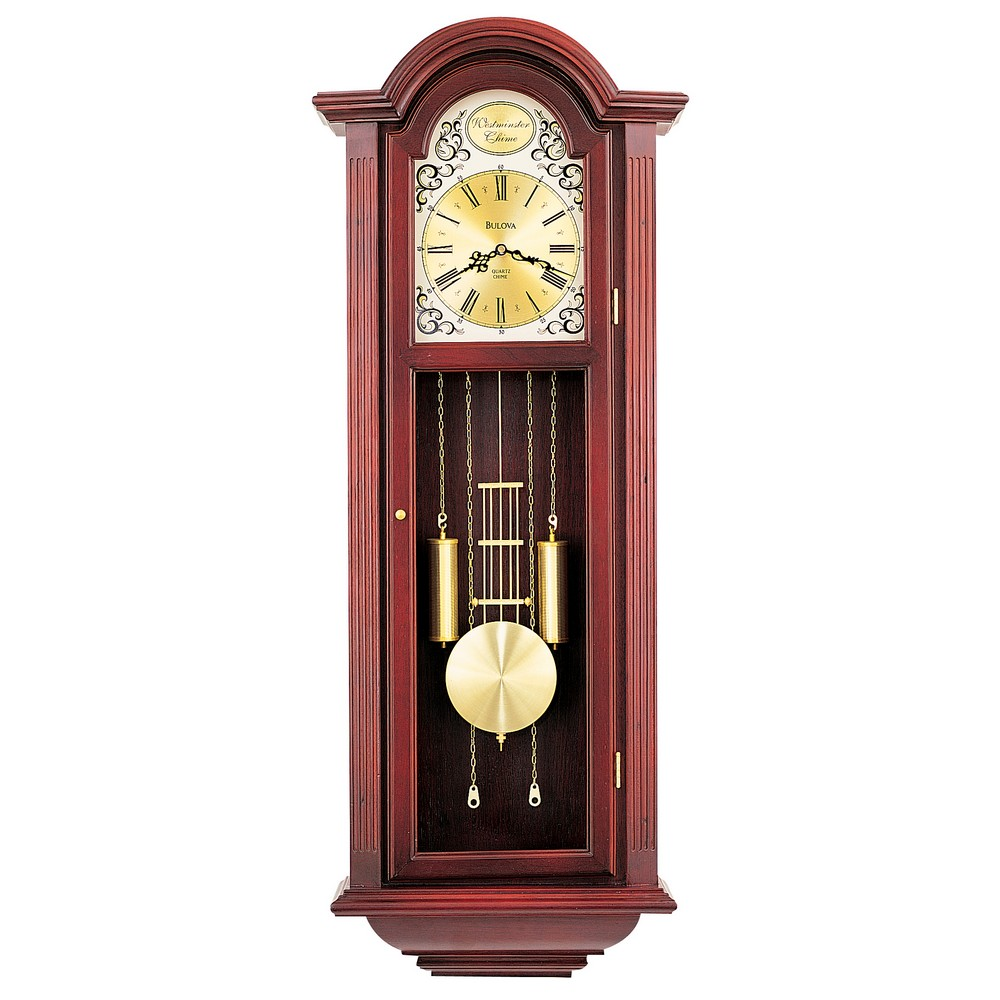 Chiming pendulum wall clock bulova tatianna c3381 for Bulova pendulum wall clock