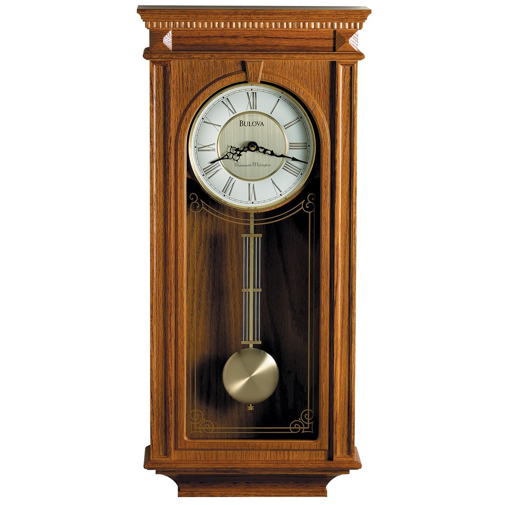Bulova manorcourt oak wall clock model c4419 aloadofball Choice Image