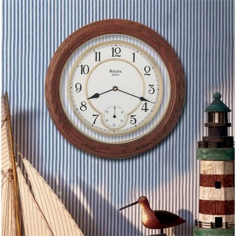 Bulova William Solid Oak Wood Wall Clock Model C4596