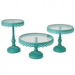 Turquoise Iron and Glass Cake Stands - Set of 3