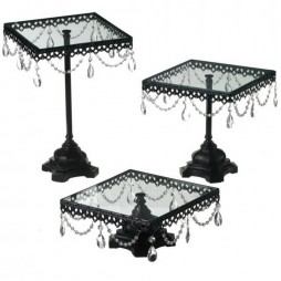 Jeweled Black Cake Stand Set of 3