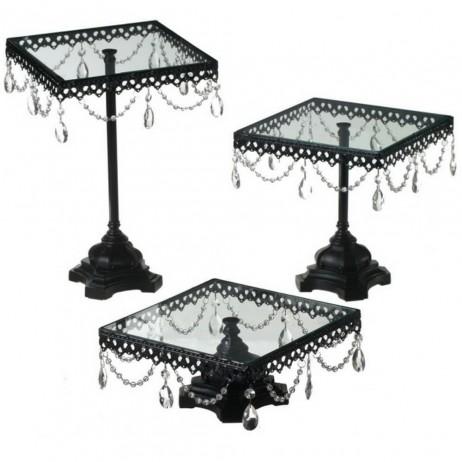 Jeweled Black Cake Stand Set of 3
