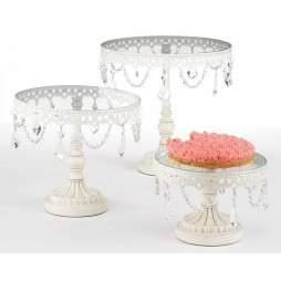 White Iron and Glass Cake Stands - Set of 3