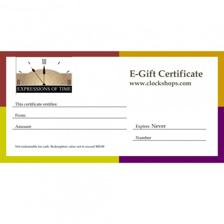 Gift Certificates from www.clockshops.com
