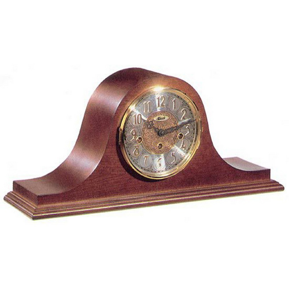 Laurel Tambour Mantel Clock With Key Wind And Cherry Finish