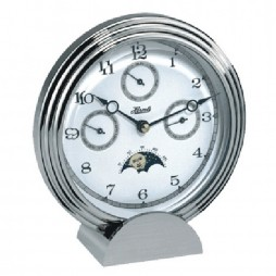 Hermle Stockton II Multi-function Desk Clock - Chrome Plated 22961-002100