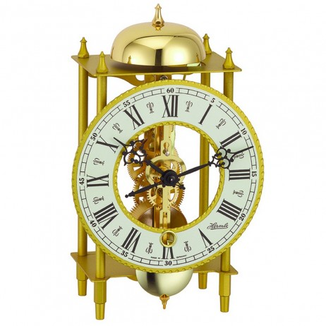 Hermle Wrought Iron Table Clock with Skeleton Movement - Gold 23004-000711