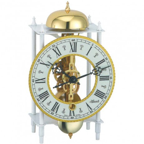 Hermle Wrought Iron Table Clock with Skeleton Movement - White 23005-000711