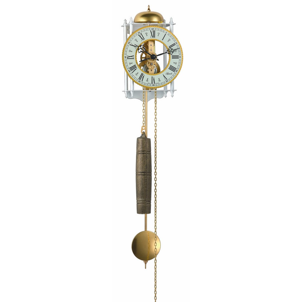 Hermle Frankfurt Mechanical Skeleton Wall Clock White Amp Gold 70733000711