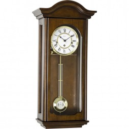 Hermle Brooke Mechanical Regulator Wall Clock - Antique Walnut Finish 70815-Q10341
