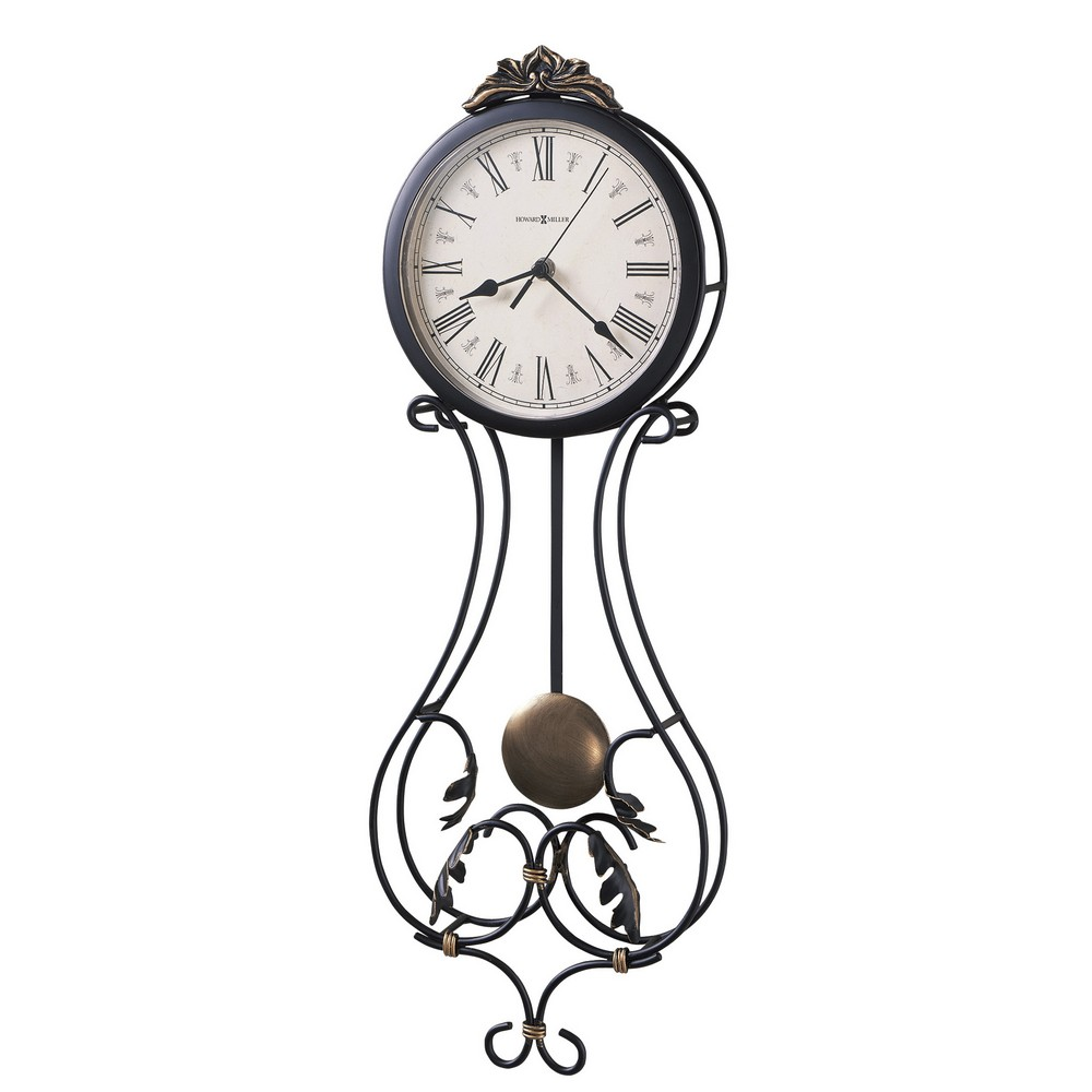 Howard miller paulina wrought iron wall clock 625296 for Wrought iron wall clock