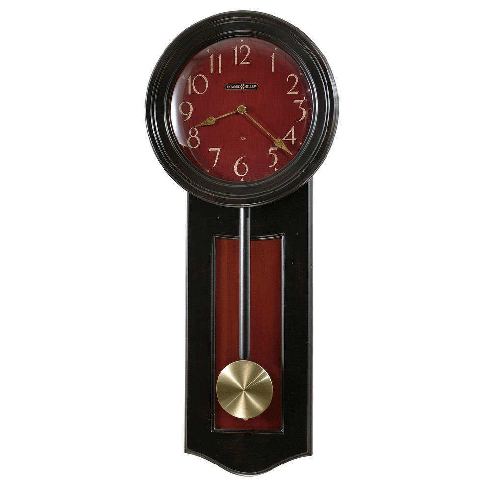 Pendulum wall clock howard miller alexi black red 625390 for Red and black wall clock