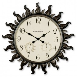 "Howard Miller Sunburst 22.5"" Indoor/Outdoor Wall Clock with Hygrometer and Thermometer 625-543"