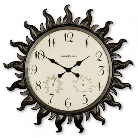 Howard Miller Sunburst 22 5 Indoor Outdoor Wall Clock With Hygrometer And Thermometer 625 543