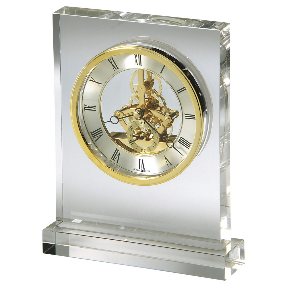 Charmant Howard Miller Prestige Glass Crystal Table Clock With Skeleton Movement  645682