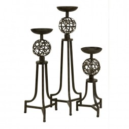 CK Mesh Metal Sphere Candlesticks - Set of 3