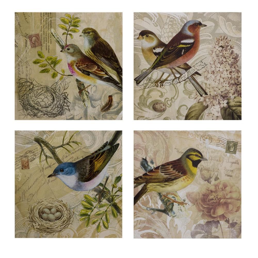 Imax Kincaid Bird Canvas Set Of 4 27577 4