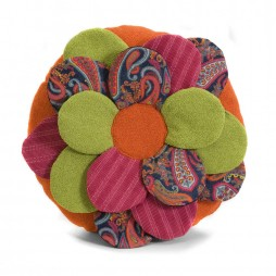 Estelle Multi-Fabric Flower Pillow