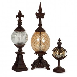 Glass and Metal Finials - Set of 3
