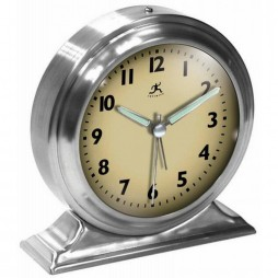 Boutique Brushed Nickel Alarm Clock Cream Face