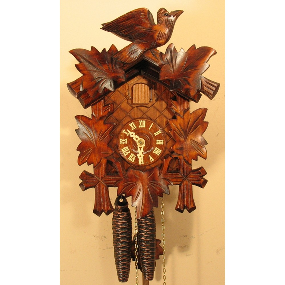 German Hand Carved Cuckoo Clock With One Day Movement 1200