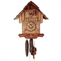Rombach und Haas - German Cuckoo Clock with Hand Painted Flowers - One-day Movement 1210-1