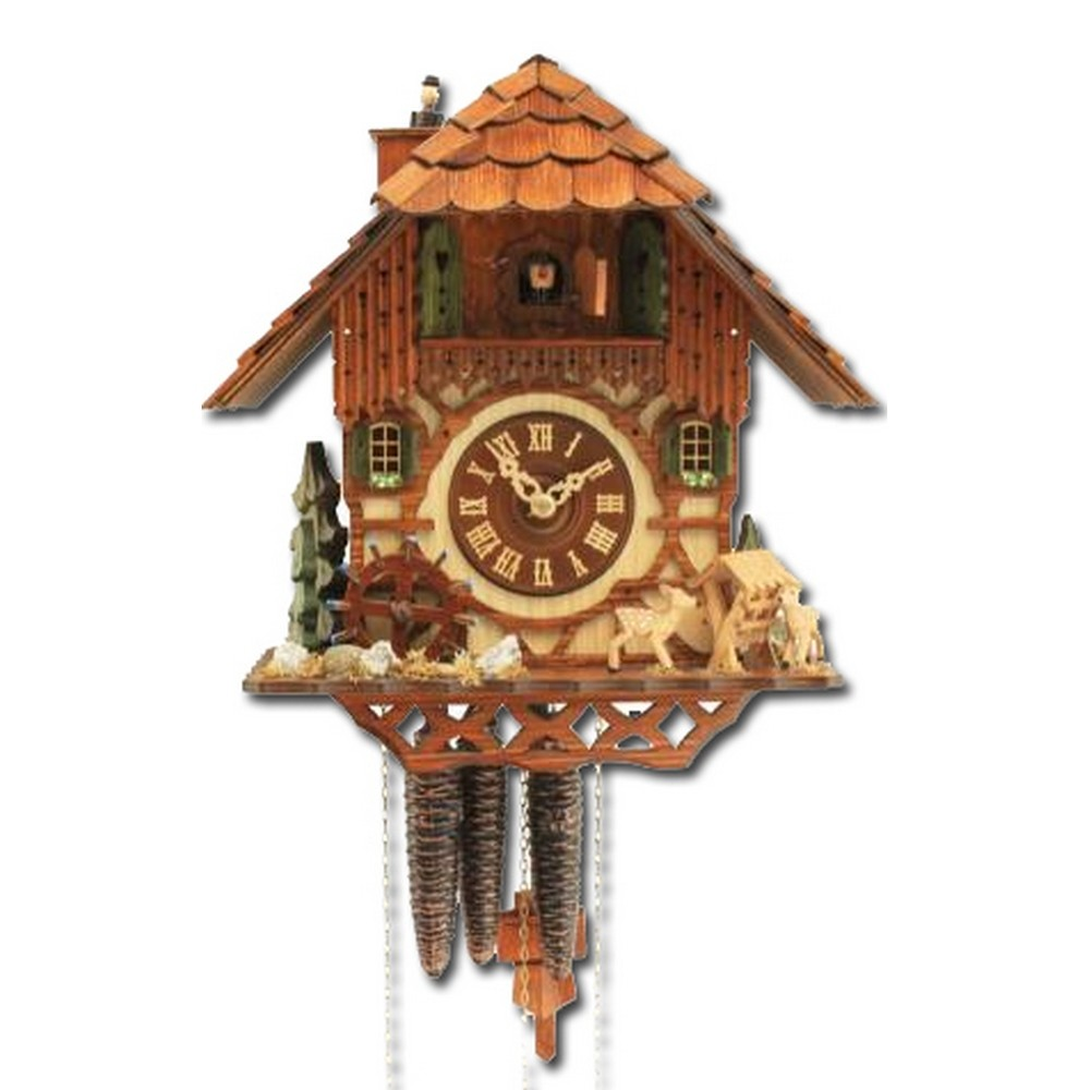 Cuckoo clock musical animated chimney sweep and waterwheel - Cuckoo bird clock sound ...
