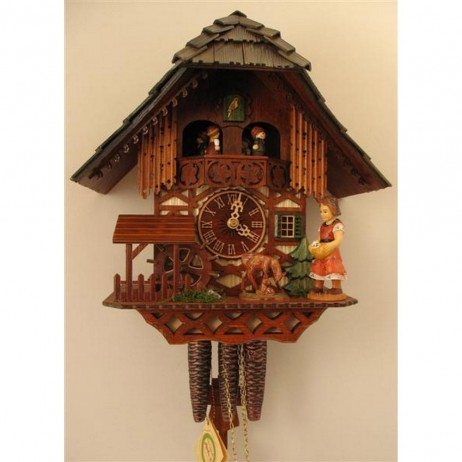 Rombach und Haas Girl Feeding Deer Cuckoo Clock with One Day Musical Movement
