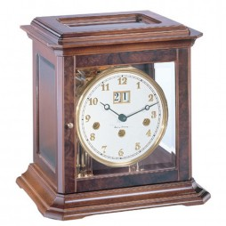Hermle Boston Mechanical Key-wound Mantel Clock 22840 030340A - Walnut