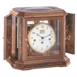 Hermle 80th Anniversary Mantel Clock With Key Wind Movement 22841 030340 - Walnut