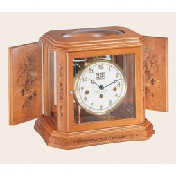 Hermle 80th Anniversary Mantel Clock With Key Wind Movement 22841 160340 - Cherry