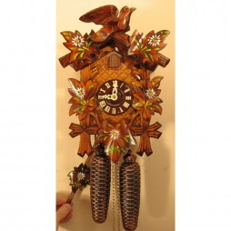 Sternreiter Edelweiss Painted Flowers Cuckoo Clock with 8 Day Movement