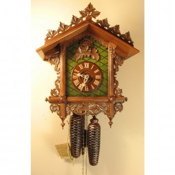 Rombach und Haas Carved Bahnhausle Cuckoo Clock with 8 Day Movement