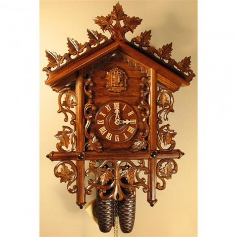 Rombach und Haas Carved Bahnhusle Cuckoo Clock with 8 Day Movement