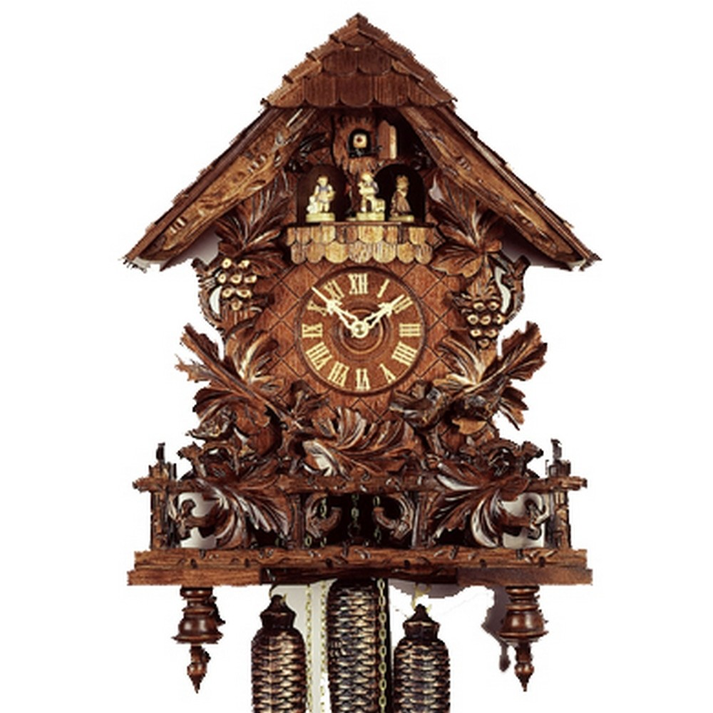Cuckoo clock grape leaves vines and fence 8 day - Cuckoo bird clock sound ...