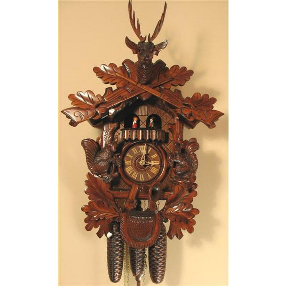 Romach Und Haas Cuckoo Clock With Squirrels And 8 Day