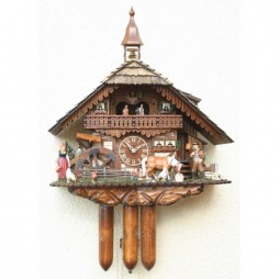 Rombach und Haas Cuckoo Clock with Farmer Couple and 8 Day Movement