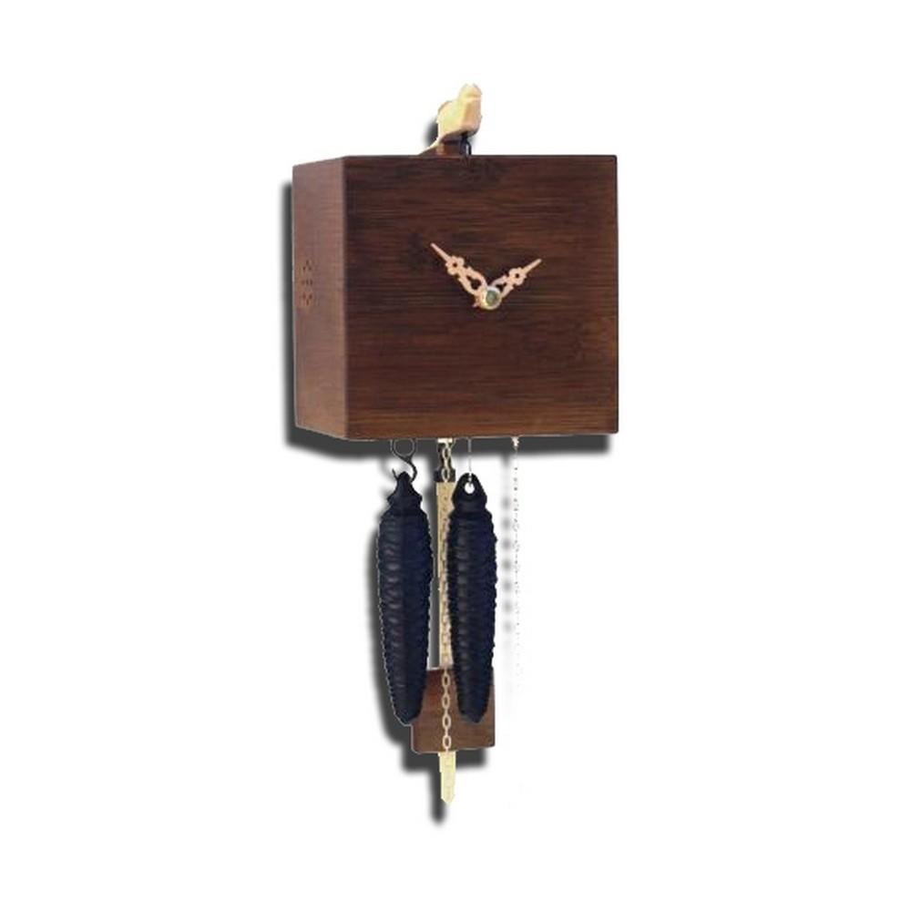 Bamboo Contemporary Cuckoo Clock Walnut Finish One Day