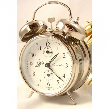 Sternreiter Double Bell Alarm Clock - Silver