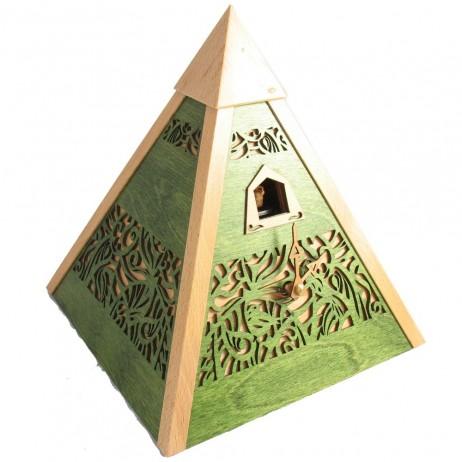 Rombach und Haas Pyramid Quartz Cuckoo Clock - Green with Natural Wood