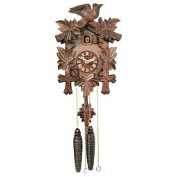 One Day Hand-Carved Cuckoo Clock with Five Maple Leaves & One Bird - 9 Inches Tall