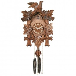 One Day Hand-Carved Cuckoo Clock with Five Maple Leaves & One Bird - 13 Inches Tall