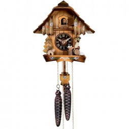 One Day Chalet Style Cuckoo Clock with Beer Drinker Raising His Mug - 9 Inches Tall