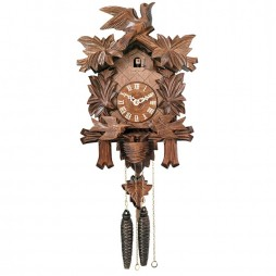 One Day Cuckoo Clock with Carved Maple Leaves & Moving Birds