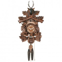 One Day Hunter's Cuckoo Clock with Hand-carved Oak Leaves