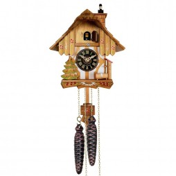 Chalet Style One Day Cuckoo Clock with Chimney Sweeper that Pops In and Out of the Chimney - 9 Inches Tall